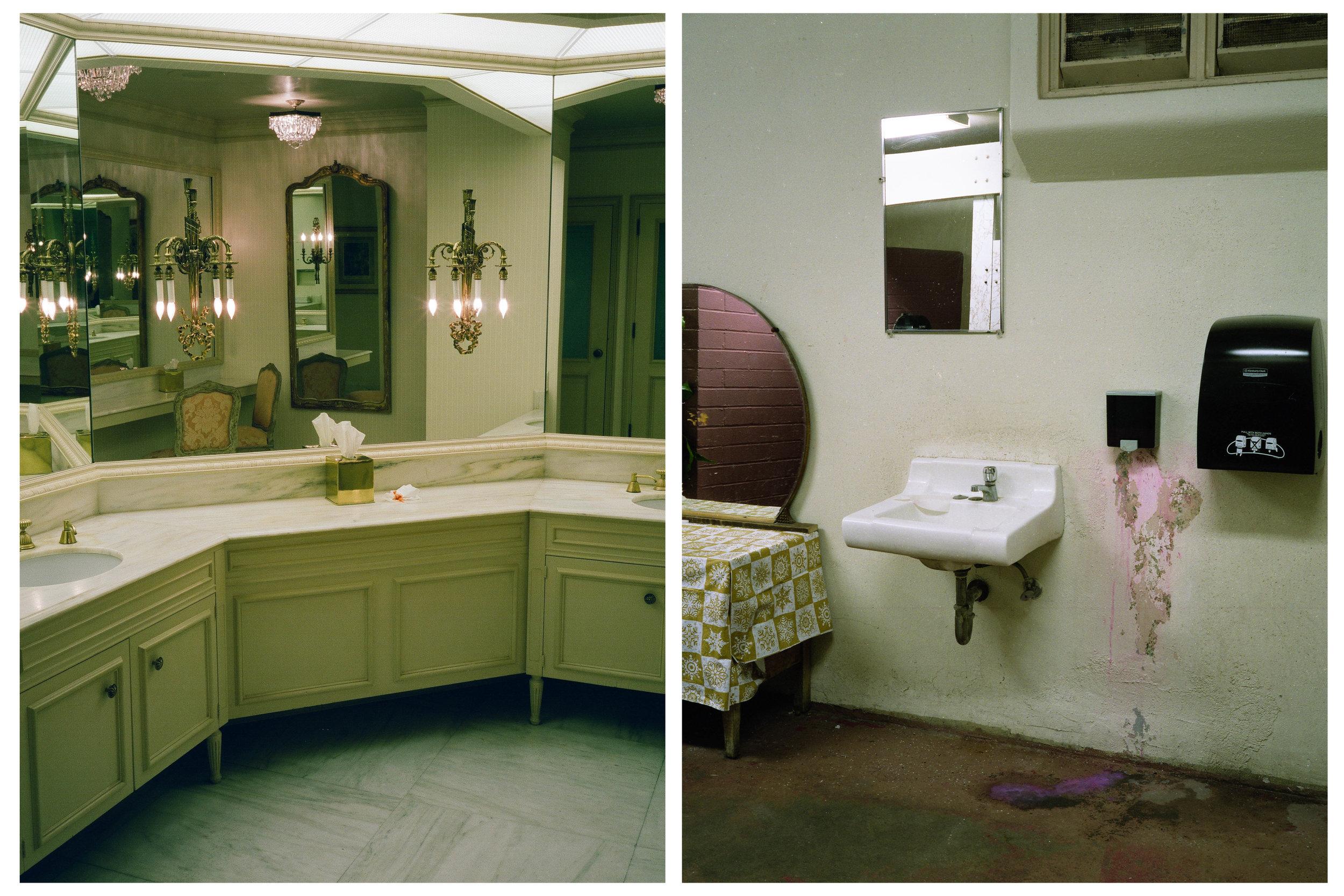 female, restrooms, medium format analog