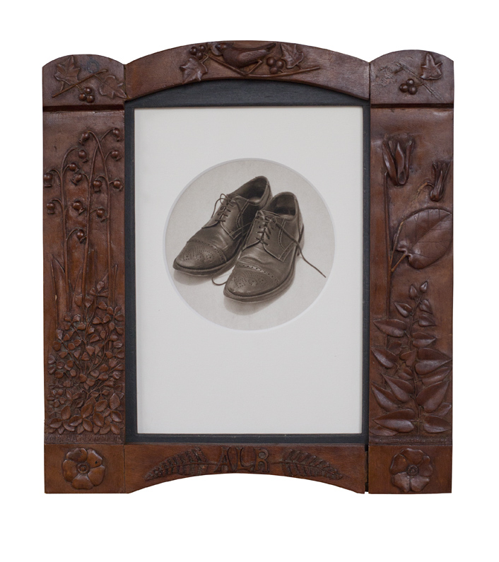 My Wingtips           Pigment print, antique frame