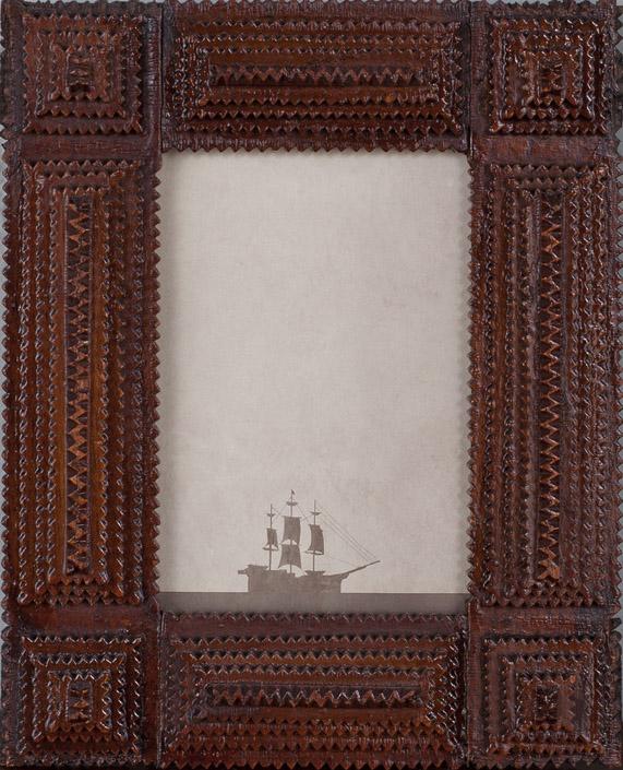 Across the Sea  Pigment print, antique Tramp Art style frame