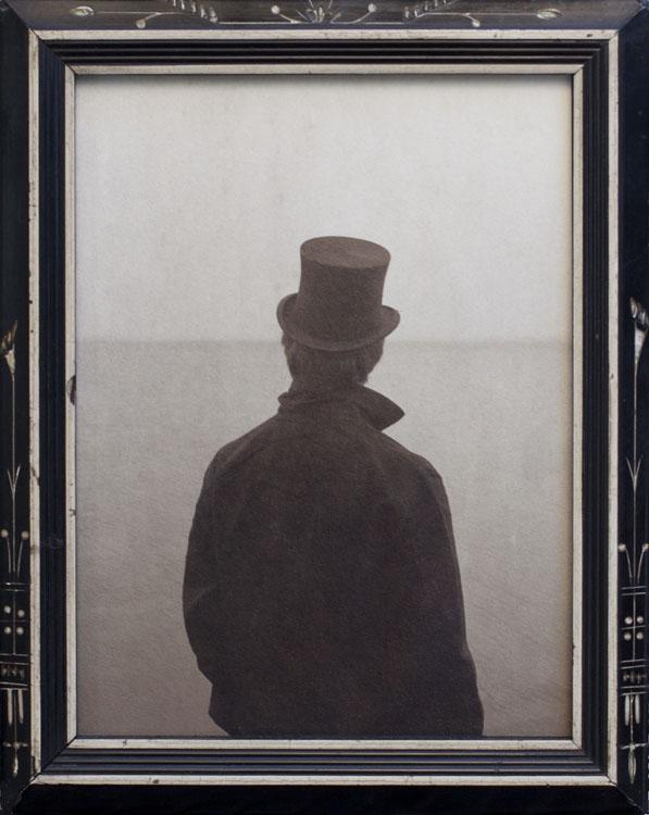 At the Edge of the Sea  Platinum print, antique frame