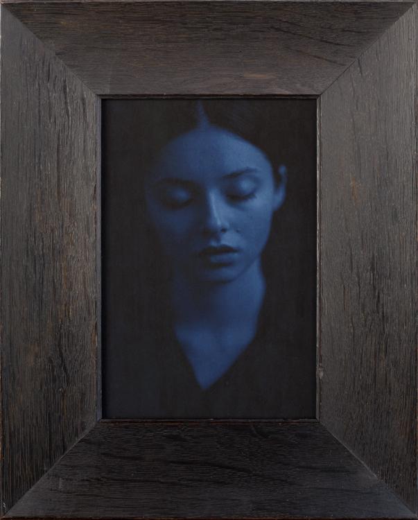 Alina ( Blue Portrait )  pigment print in an antique oak frame