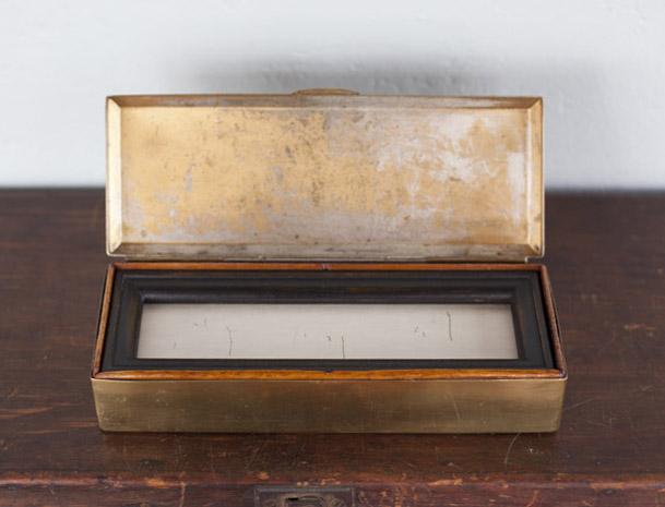 Snowscene ( The Poet )     pigment print, artist made frame & vintage brass box