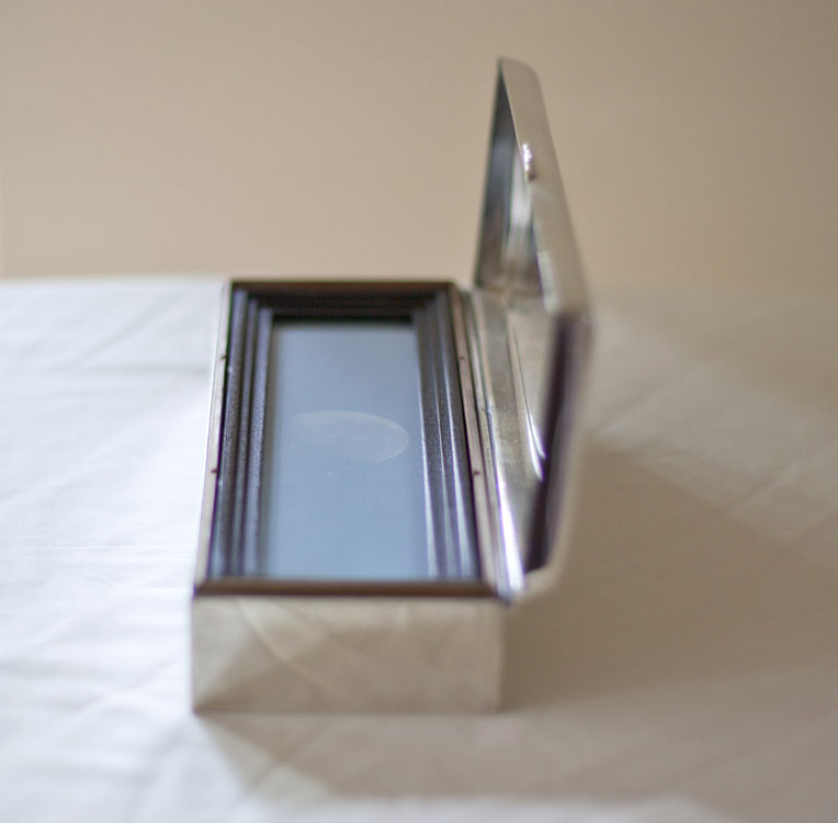 Daymoon        Pigment print, artist made frame & vintage silver plated box