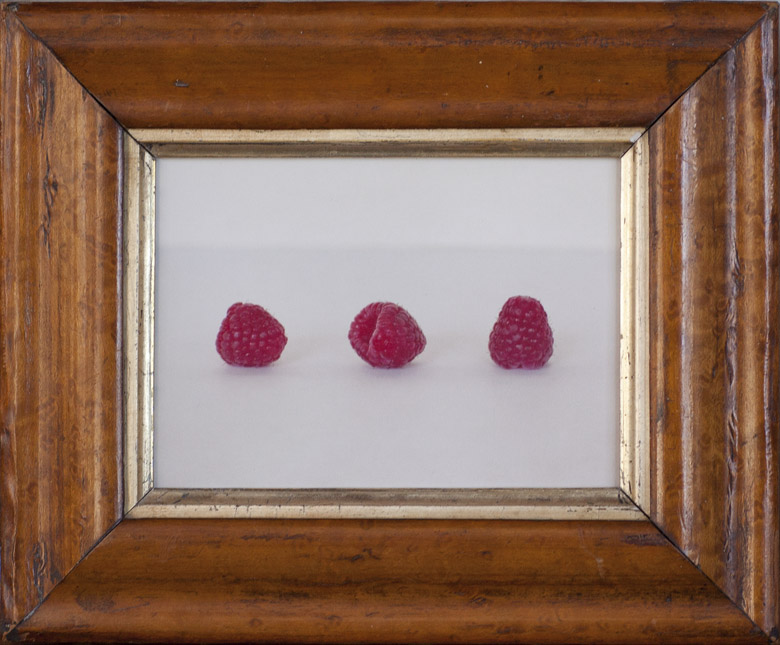 Three Raspberries         Pigment print, antique frame