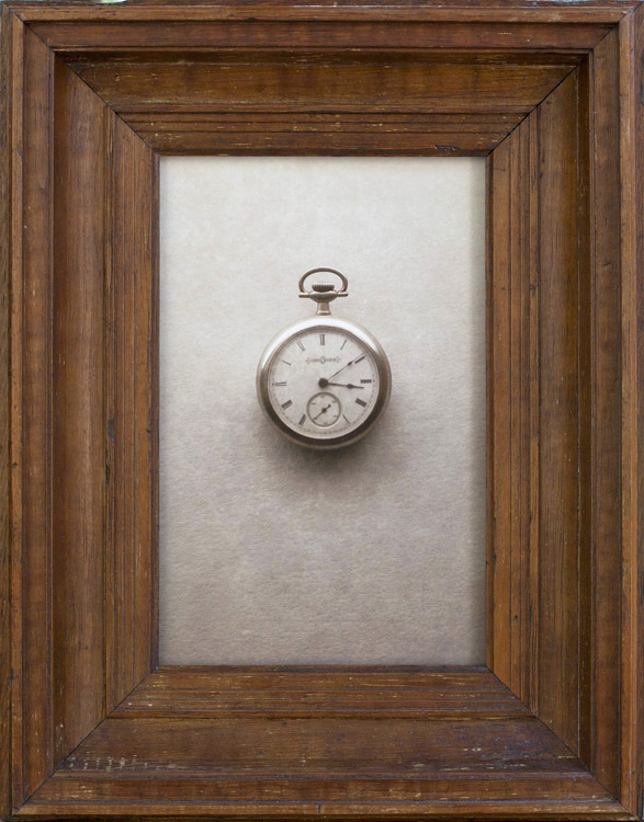 Pocket Watch         pigment print, antique Pine frame