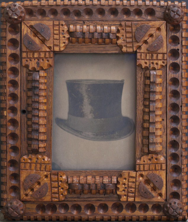 Top  Hat         pigment print from a collodion plate scan, antique folk art frame