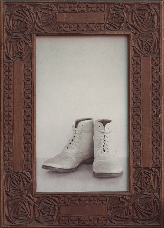 Canvas Boots          Pigment print, antique carved frame