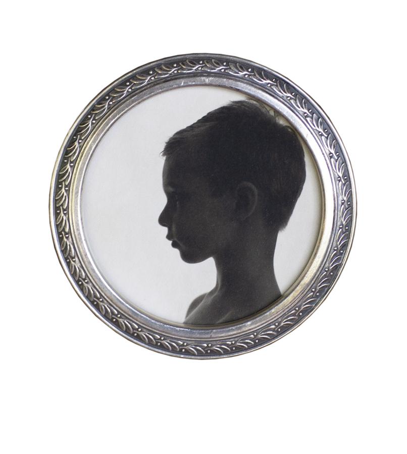 "Portrait of My Son   Pigment print, antique frame   3"" diameter"