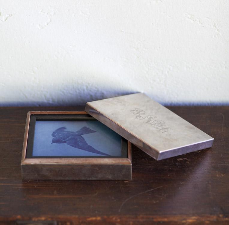 Near The Sea   pigment print, antique frame & vintage silver box