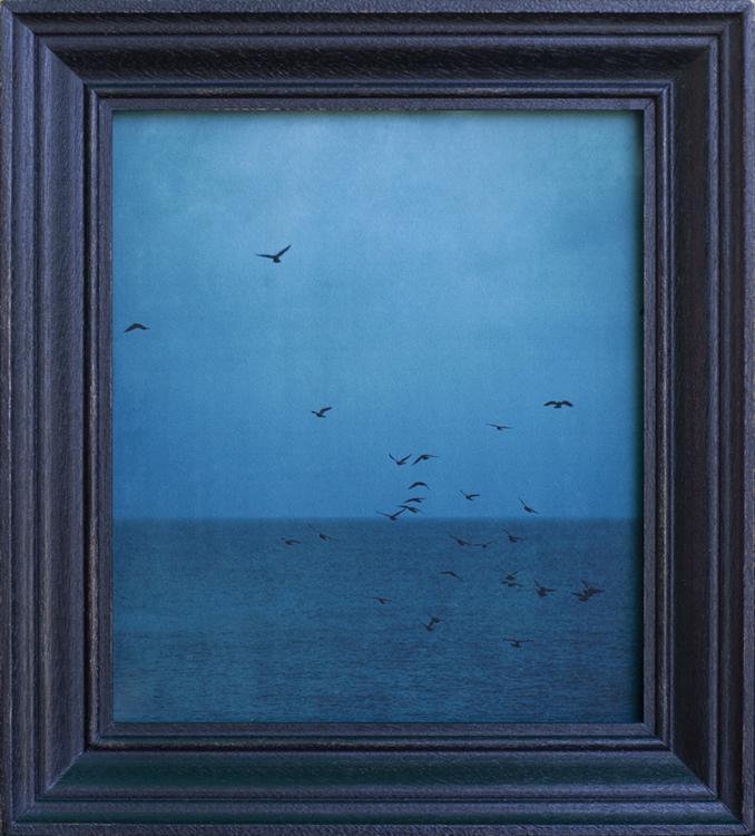 The Evening Seas pigment print, artist made mahogany frame