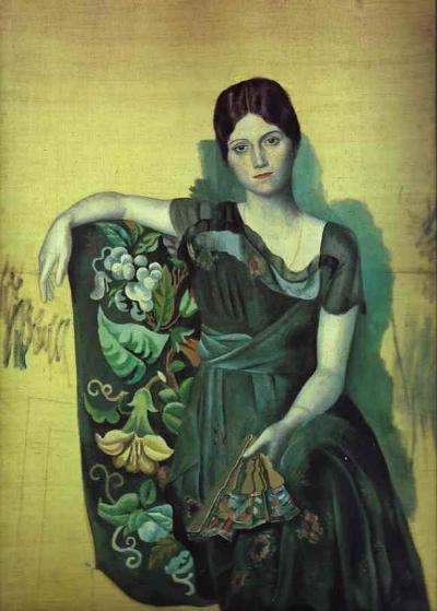 """Picasso, Olga Picasso Koltukta Otururken, 1917: """" Buradaki zevksizlik, yeteneği görmemizi bile engelleyebilir"""" der Berger... Ve Picasso'nun Kübizm devri kapanır."""