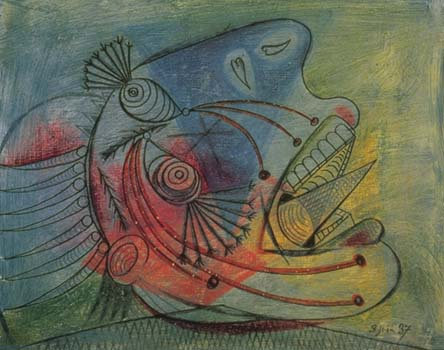 """Picasso, Ağlayan Baş, 1937:Dehasıyla sergilenen duyumun içine sokar bizi, kendimizin farkında olmak için hiç mesafe bırakmaz. """"Bu resim ne anlama geliyor?"""" sorusuna yanıt """"Sizin o olmanız anlamına geliyor."""""""