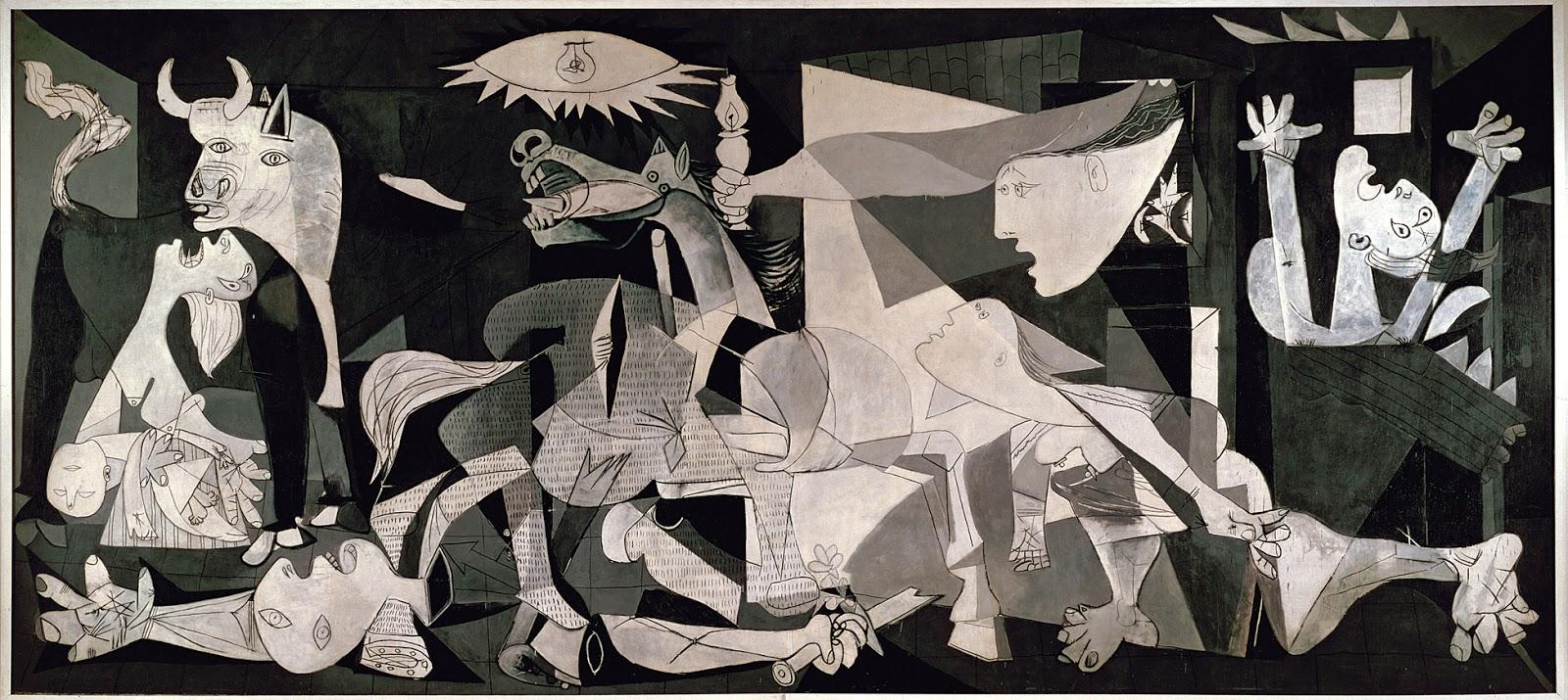 Picasso, Guernica, 1937: Picasso, Guernica'da kendi ülkesinden gelen haberleri dinlerken kendi çektiği acıları resmetmektedir. Gerçek olayı imgelerde canlandırmaya çalışmamıştır. Kent yoktur, uçaklar yoktur, patlama yoktur; günün, yılın, yüzyılın belli bir zamanına ya da İspanya'ya bir gönderme yoktur. Suçlanacak düşman yoktur. Kahramanlık da yoktur. Yine de bir protestodur.