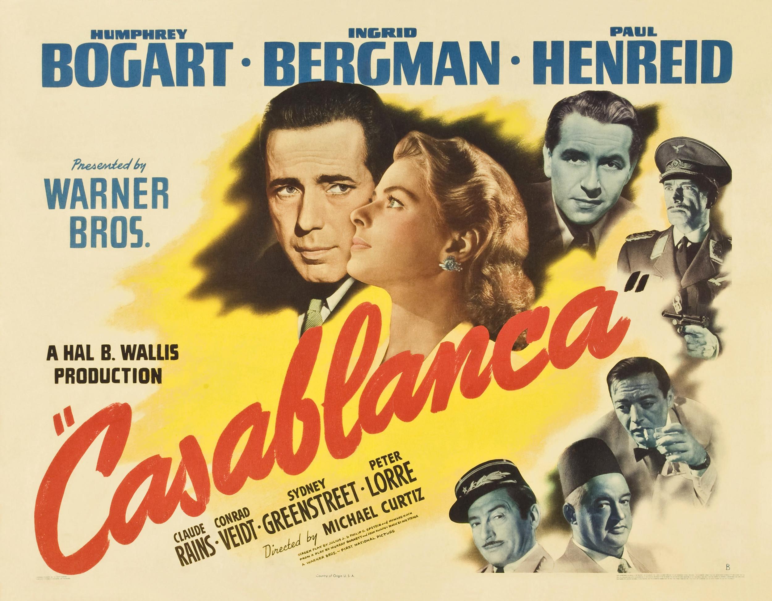 """Casablanca (1942) - Michael Curtiz  """"(Casablanca'nın) bu kadar etkileyici olmasının nedeni kahramanın uzun menzilli sonuçları olan bir sürü karar almasıdır, demiştin diyor Messerschmidt. İnsanları ve ülkeleri terk ediyor; kimliklerini, birlikte olduğu kadınları ve siyasi inançlarını değiştiriyor. Oysa sinemaya giden insanlar sonuçsuz kalan küçük kararlar verir hep. Kendilerine en fazla, bir televizyona ya da bir paltoya ihtiyacın var mı, diye sorarlar, daha fazlası olmaz onların hayatında.Sinemaya giden insanların hayatında her şey önceden belirlenmiştir. Casablanca yalanının sırrı, sahici ve hayati kararların düzlemiyle izleyicilerin sıfır karar düzlemini sinemadaki insanlarda, onların da mühim sivriliklerin ortasında yaşadıkları yanılsamasını yaratacak kadar iç içe geçirmesinde. Esas yalancı olan film değil, tam tersine insanların onu kullanma tarzı, lakin tam da bu yüzden film de yalancı çıkıyor, çünkü izleyicilere böyle bir yalanın kapısını açıyor."""""""