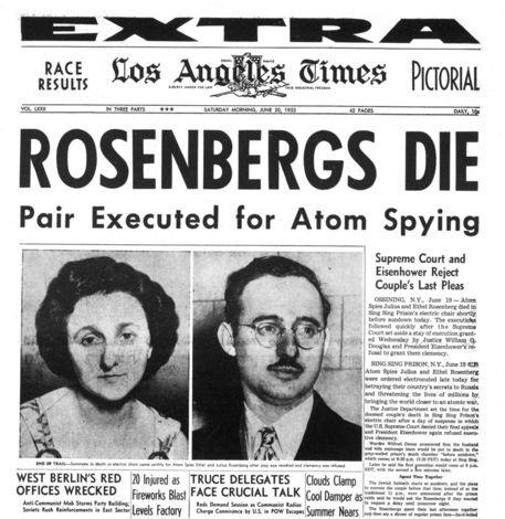Rosenberglerin casusluk iddiasıyla idamından sonra Los Angeles Times gazetesi