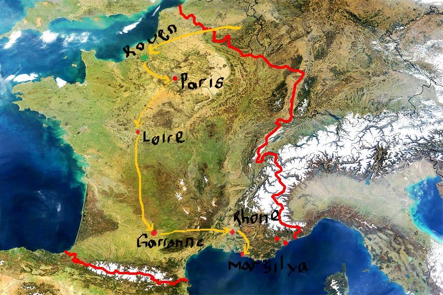 Siedler'ın yolu aştığı nehirler ve ulaştığı şehirler