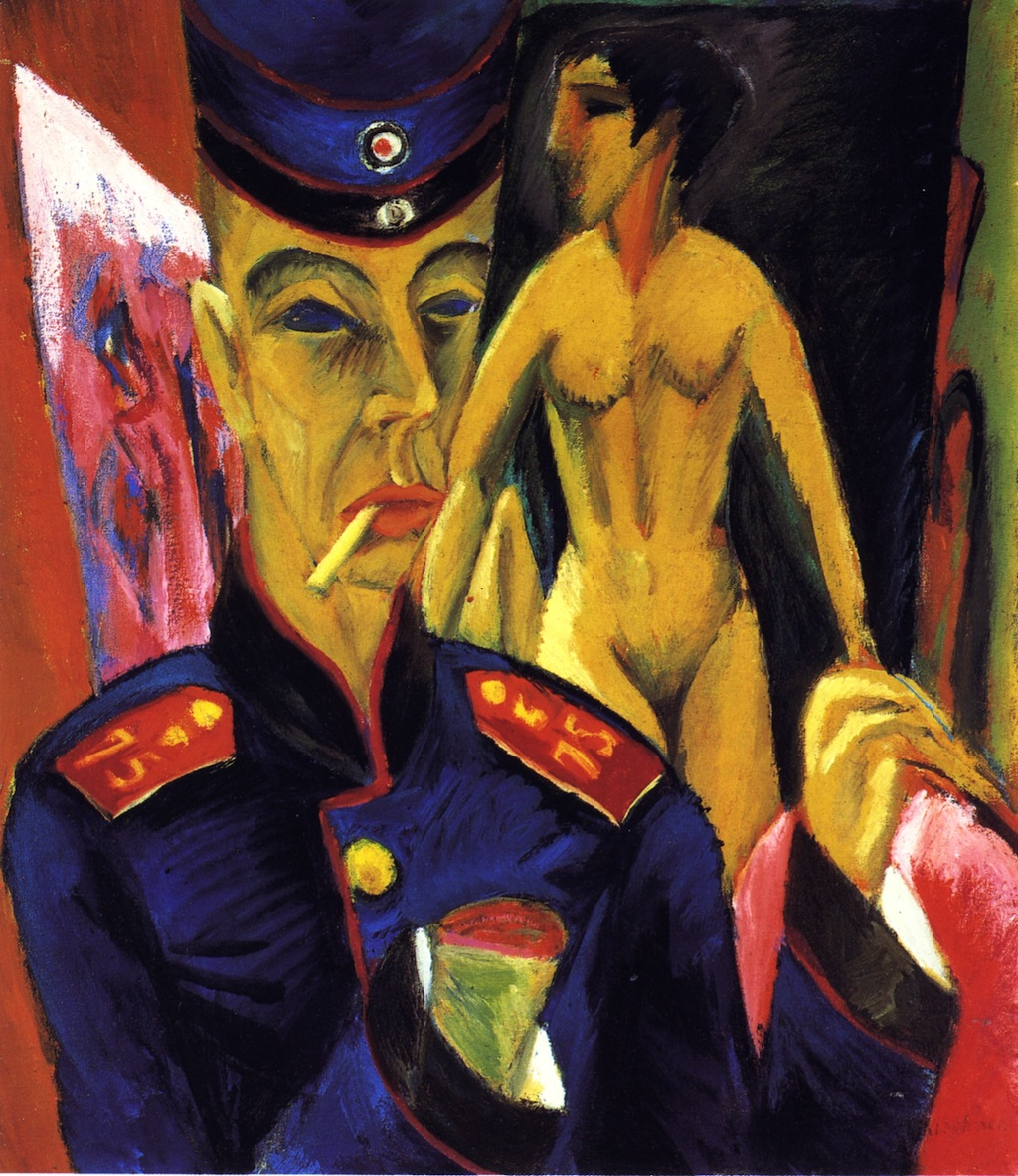 Ernst Ludwig Kirchner  - Asker Olarak Otoportre (1915) Ekspresyonist resim örneği