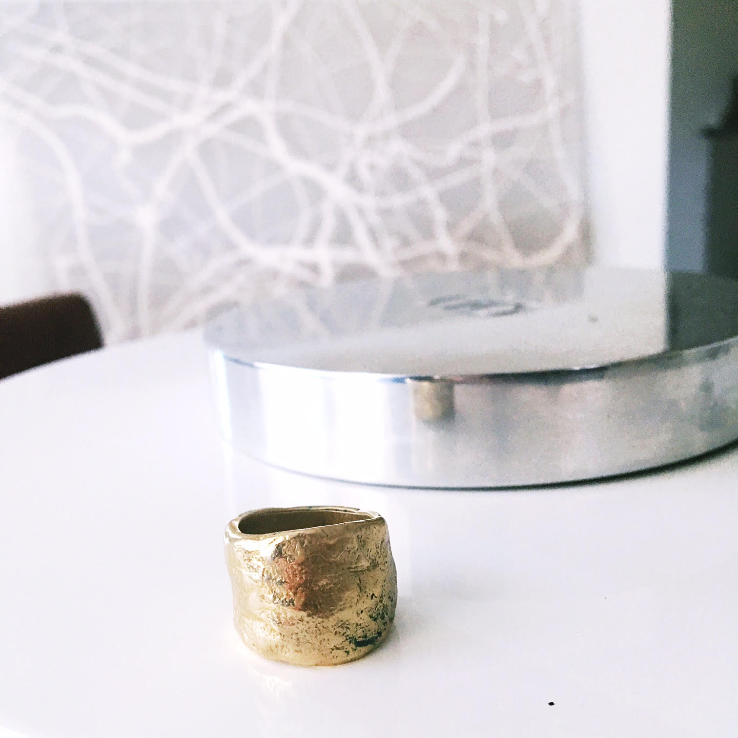 Stone Roman Band Ring In Bronze