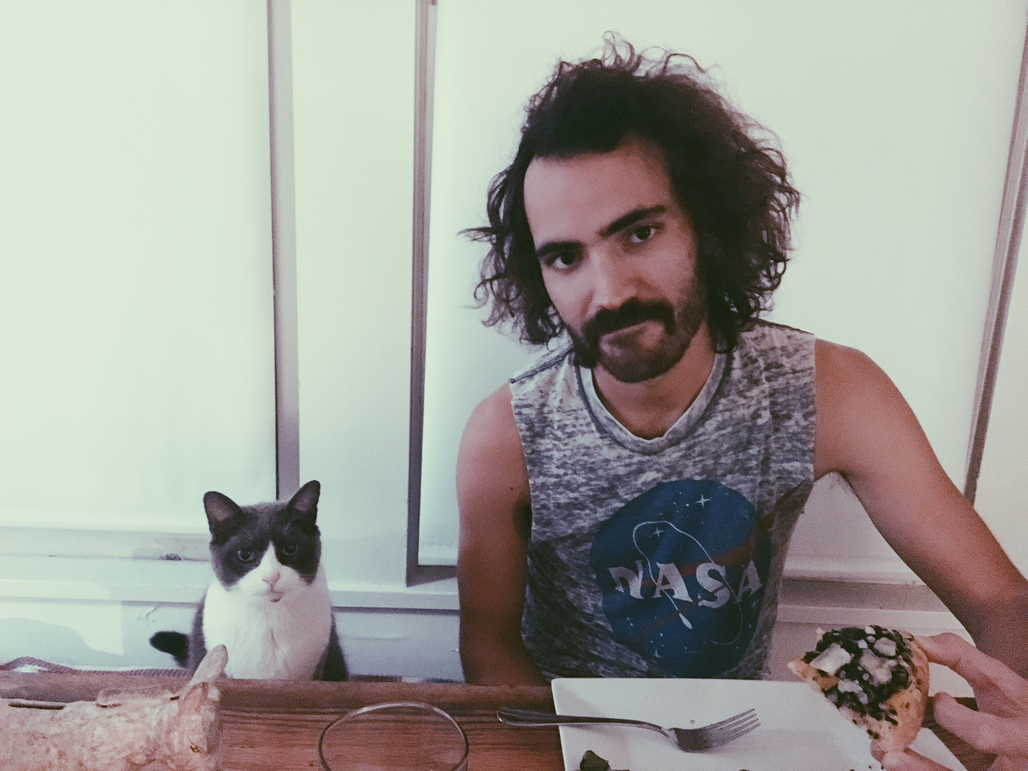 BEN WITH HIS KITTY NAMED CHICKEN..