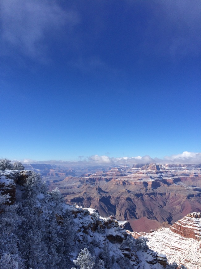Seeing the Grand Canyon covered in snow on New Years Day