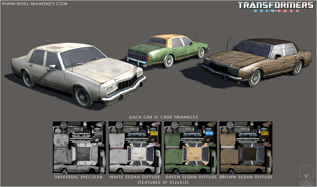 Low Polygon Sedans with colour variations