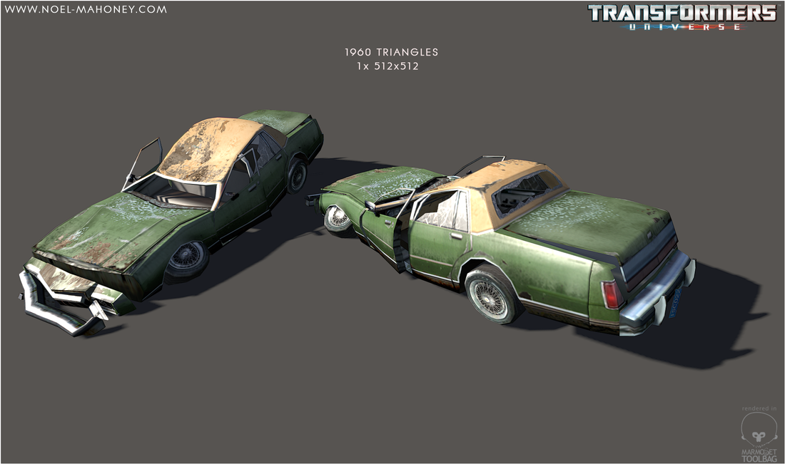 Low polygon crushed Sedans with colour variations