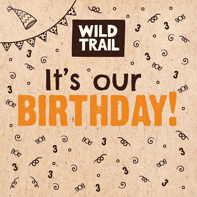 We're THREE today!  Happy birthday to... us!  Thanks to everyone who buys our bars and sells our bars... and to all of you who have helped us and continue to support us as we journey along our Wild Trail! #3today #birthday #wildtrail #threeyears #happybirthday #birthday