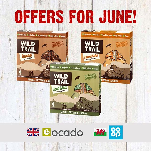 JUNE OFFERS!  Our Wild Trail bars are on sale in @OcadoUK (UK-wide) and @coopuk (Wales) from today (down to £1.50 per pack)! Perfect for keeping you energised this summer! #sale #discount #wildtrail #ocado #coop