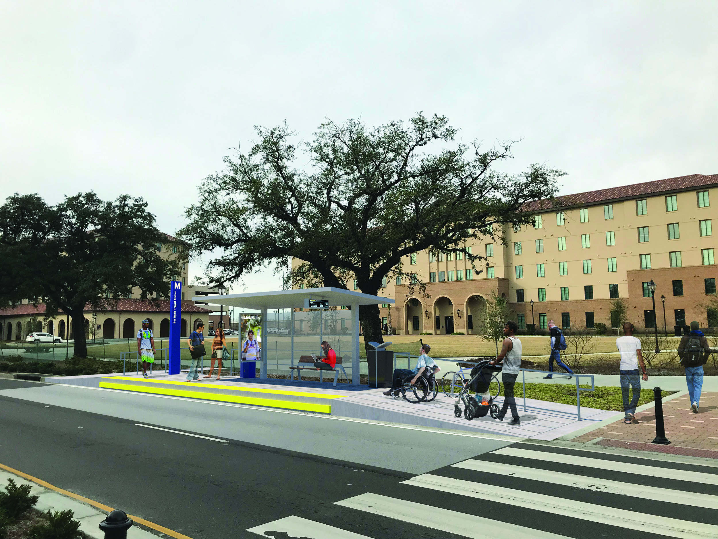A bus rapid transit station at LSU's Nicholson Gateway development, as envisioned by consulting firm HNTB.