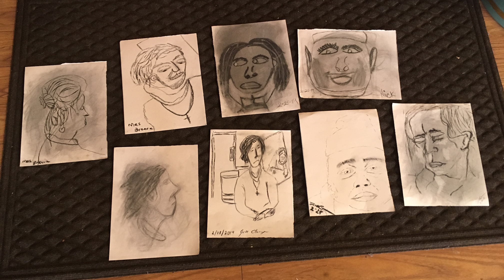 Portraits of the  Cathedral Arts  missioner.  Charcoal. By artists at the Capital City Rescue Mission.