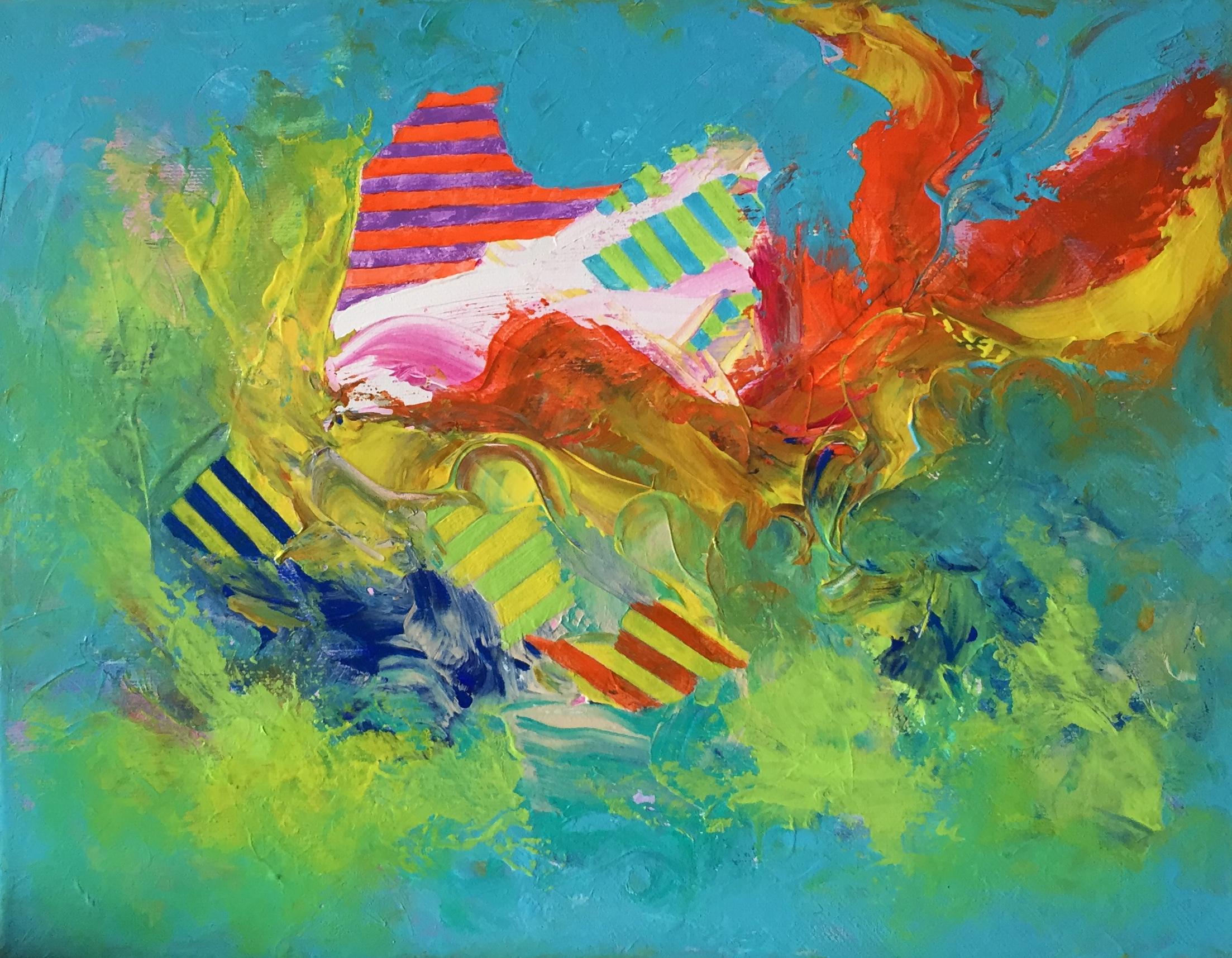 "Swimmingly 11"" x 14"" acrylic on canvas"