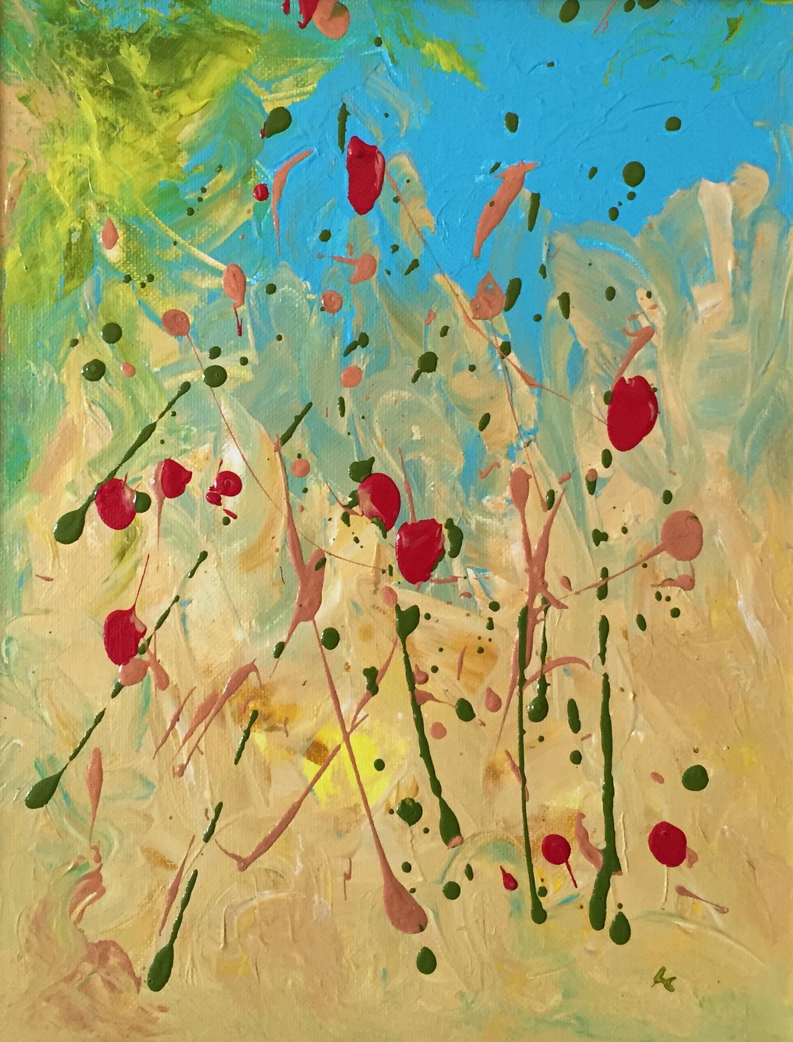 """Strawberry Fields 14"""" x 11"""" acrylic on canvas"""