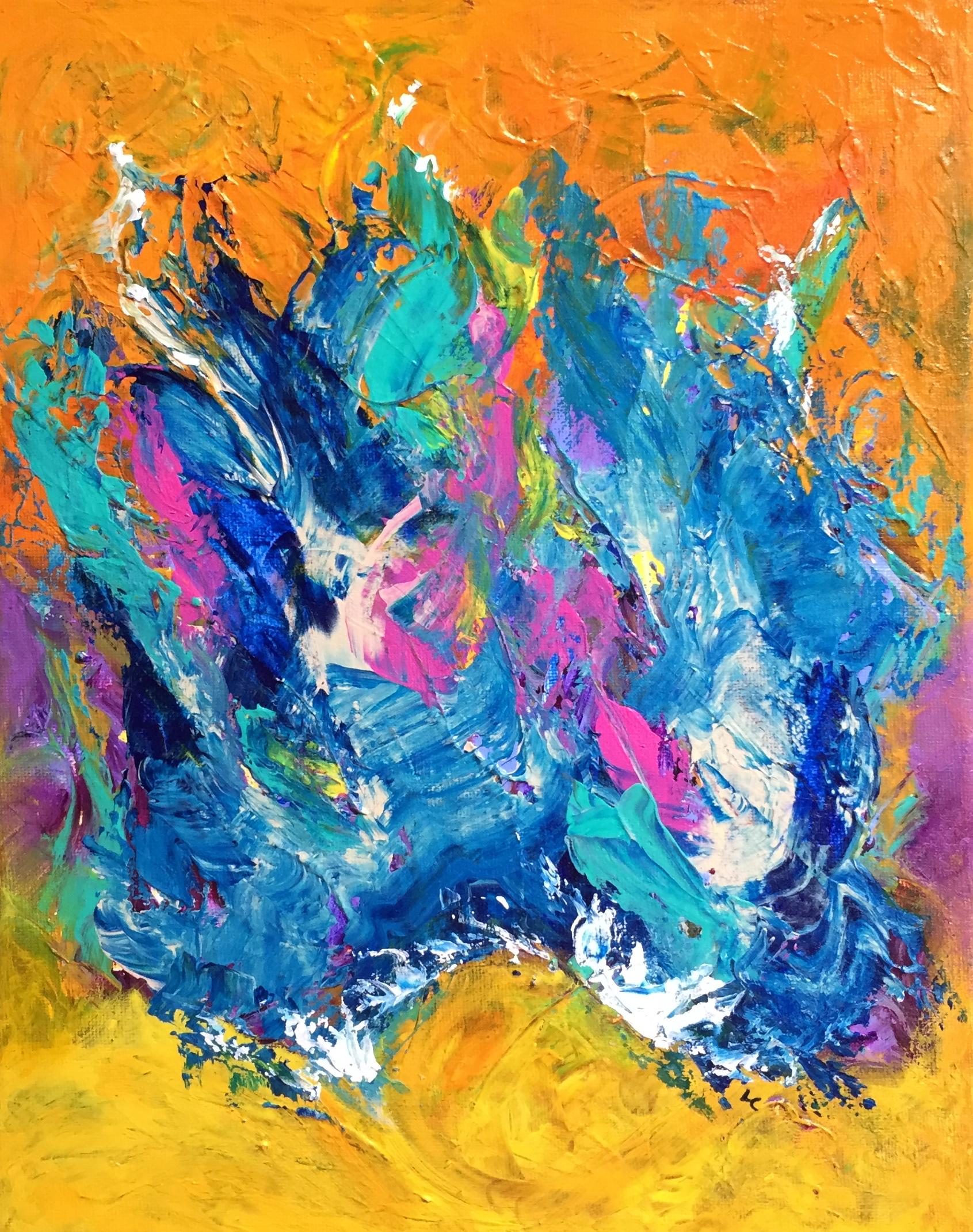 """Blue Flame 14"""" x 11"""" acrylic on canvas"""