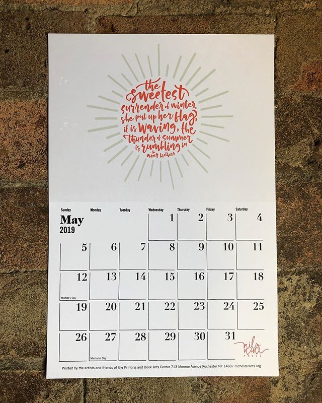 Really excited that the Flower City Arts Center's annual letterpress calendar is now available for purchase! Check out my design for May, nestled in among all of the other gorgeous pages, when you pick up yours! Follow the link in the @rochesterarts bio to shop now.
