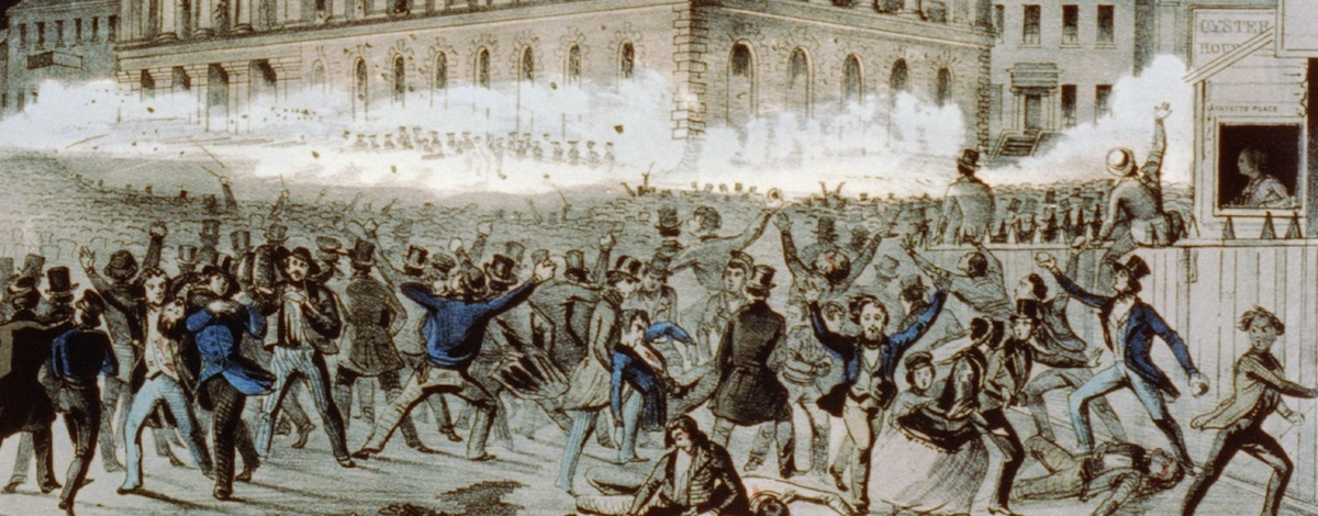 The riot outside Astor Place Hotel; depiction from the Library of Congress.