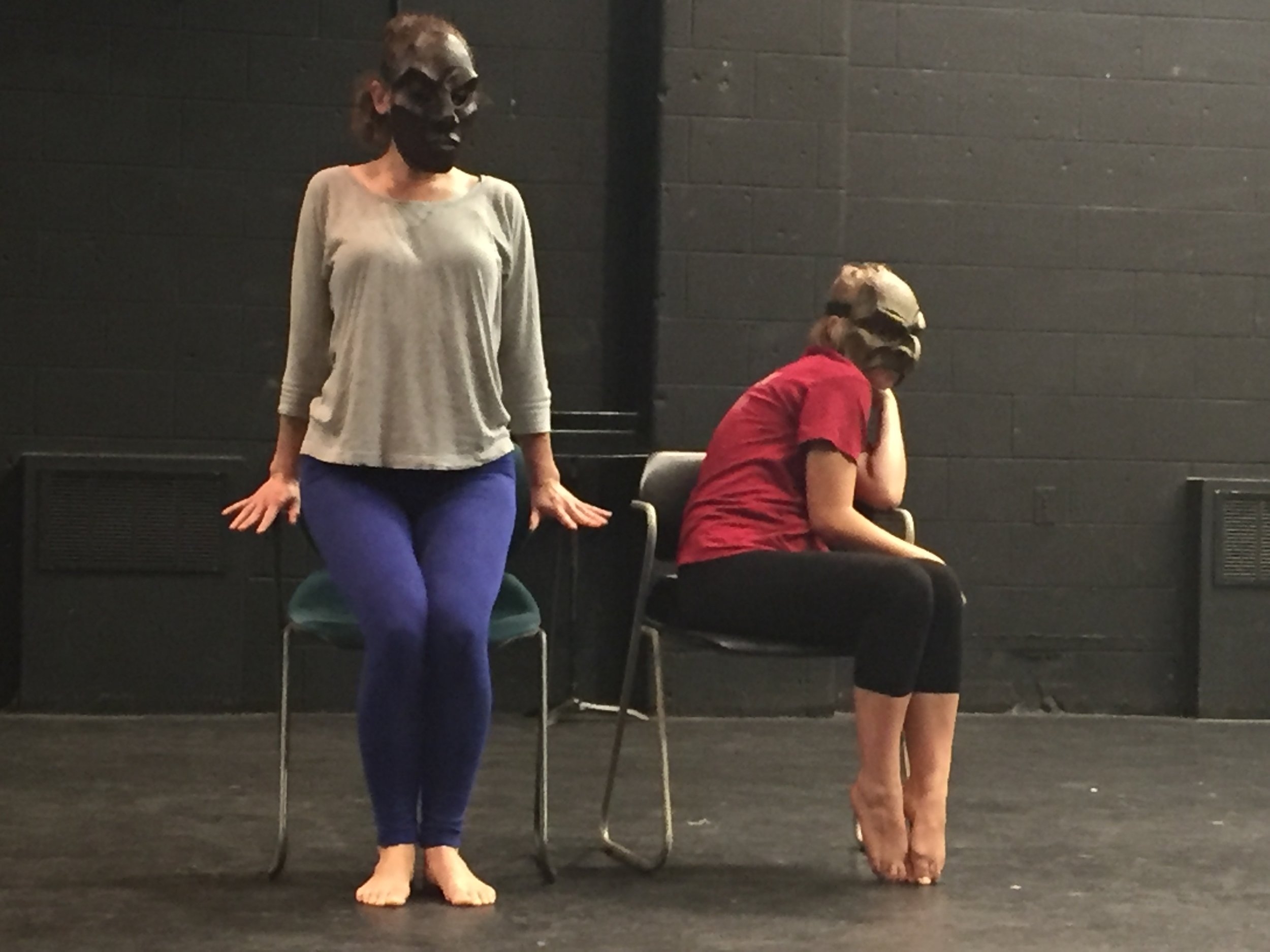 Shelby Lewis (left) and Izzy Chilian (right) working on mask and countermask.