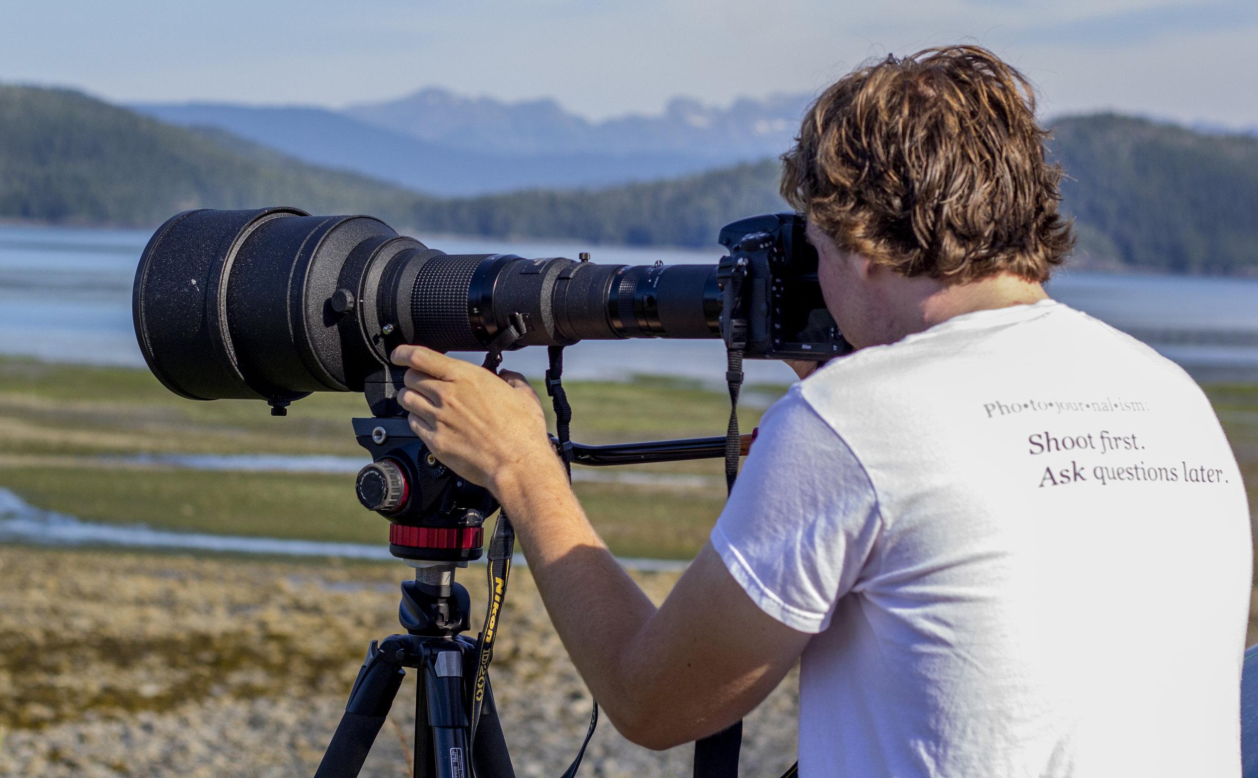 Shooting eagles in Cordova, Alaska.  Photo by Dan Morrison.
