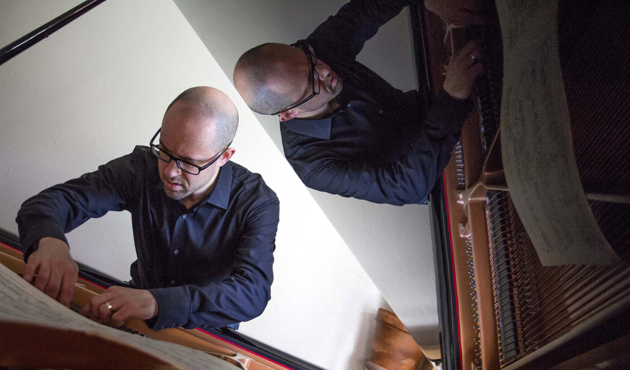 """Pianist Alexander Schwarzkopf plays """"Night-Spell 1- Saggitarius,"""" by the composer George Crumb. The piece involves plucking on the strings of his piano, whistling and drumming on the piano."""