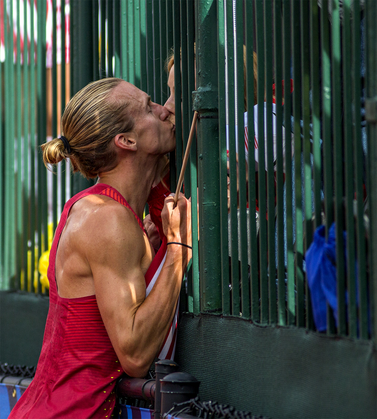 Nike Bowerman TC's Evan Jager kisses his girlfriend after winning the 3,000 meter steeplechase at the Olympic Trials with a time of 8:22.48. By winning Jager qualified for the Olympic Games in Rio De Janeiro.