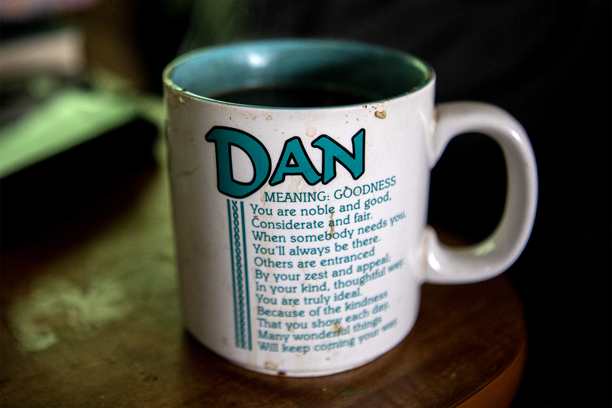 "Dan Pittman's mug was gifted to him by two of his ""street daughters."" Dan, who wished not to be photographed, describes himself as the brains of their family's operation. He possess the know how to keep their mobile home repaired from years of mechanical experience."