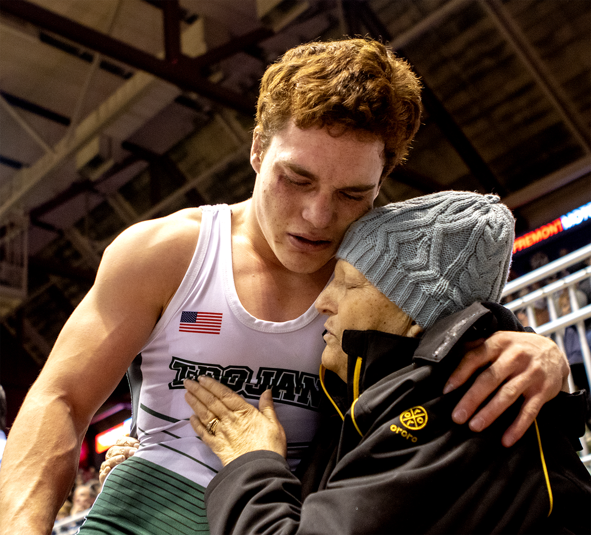 """Rhonda Kraus hugs her son Josh after his victory to take the state title at the State Wrestling Championships on Saturday, Feb. 23, 2019 at the Casper Events Center. Kraus has ovarian cancer and wasn't expected to make it to Christmas. """"Just being here means a lot,"""" Kraus' daughter Kassandra said."""