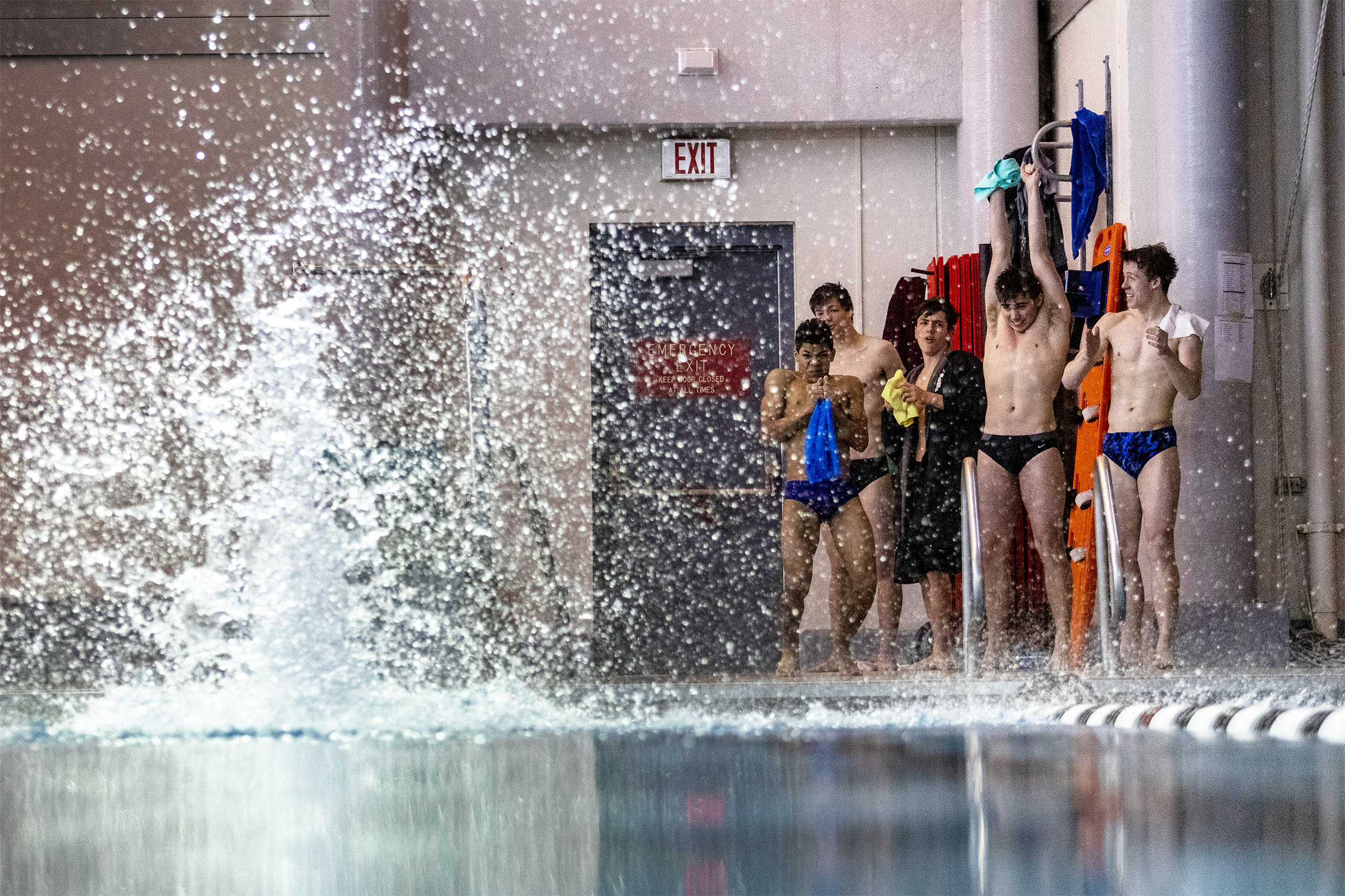 Divers react to a hard impact of another diver with the water at the Gillette Pre-Invite at the Campbell County Aquatic Center on Friday, Jan. 25, 2019.