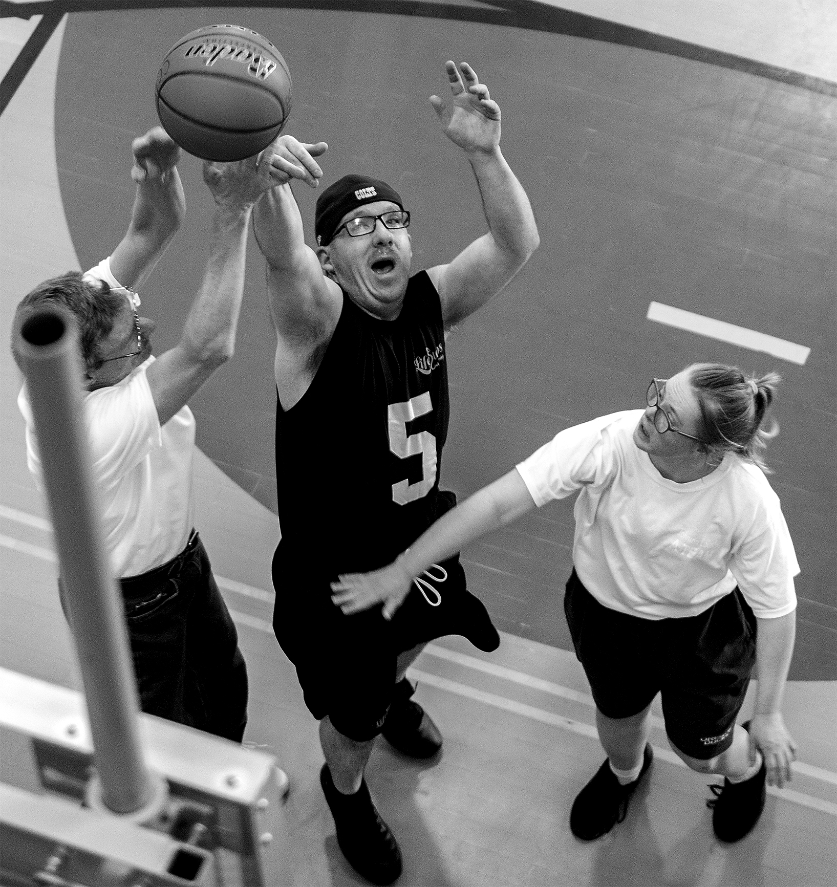 Billy Buckey goes up for the basket at the Special Olympics Area Games on Thursday, April 11 2019, at the Rec Center.