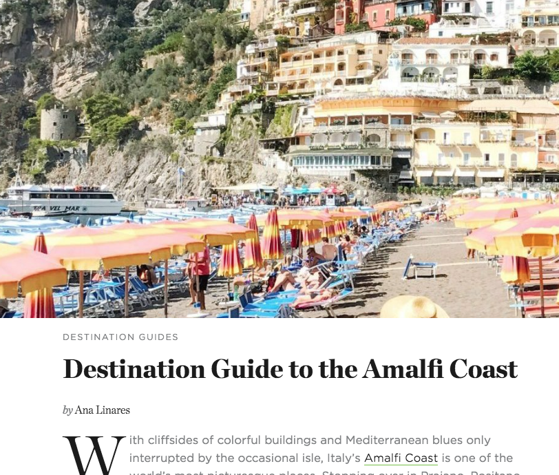 Destination Guide to the Amalfi Coast