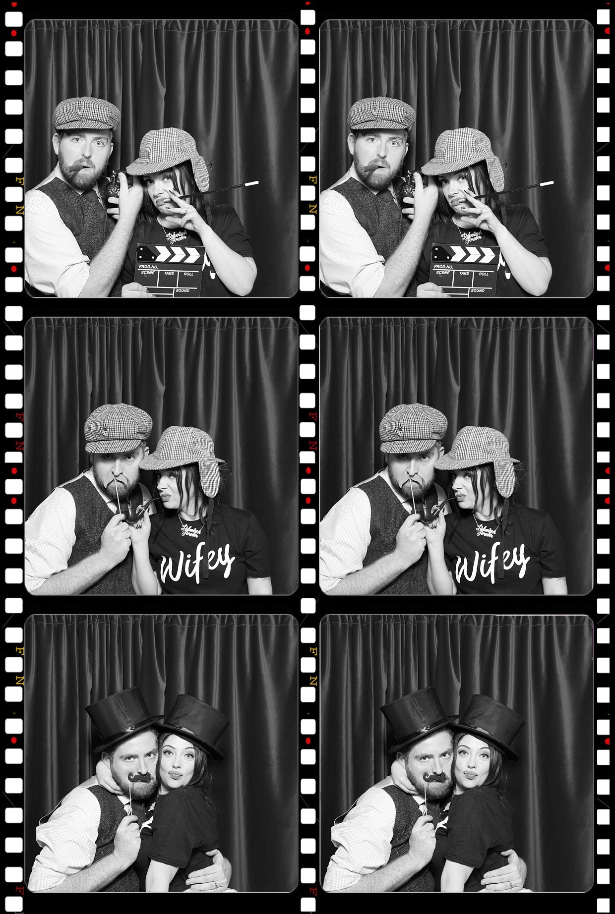 me and my babe wife in the bygone photo booth at our wedding -