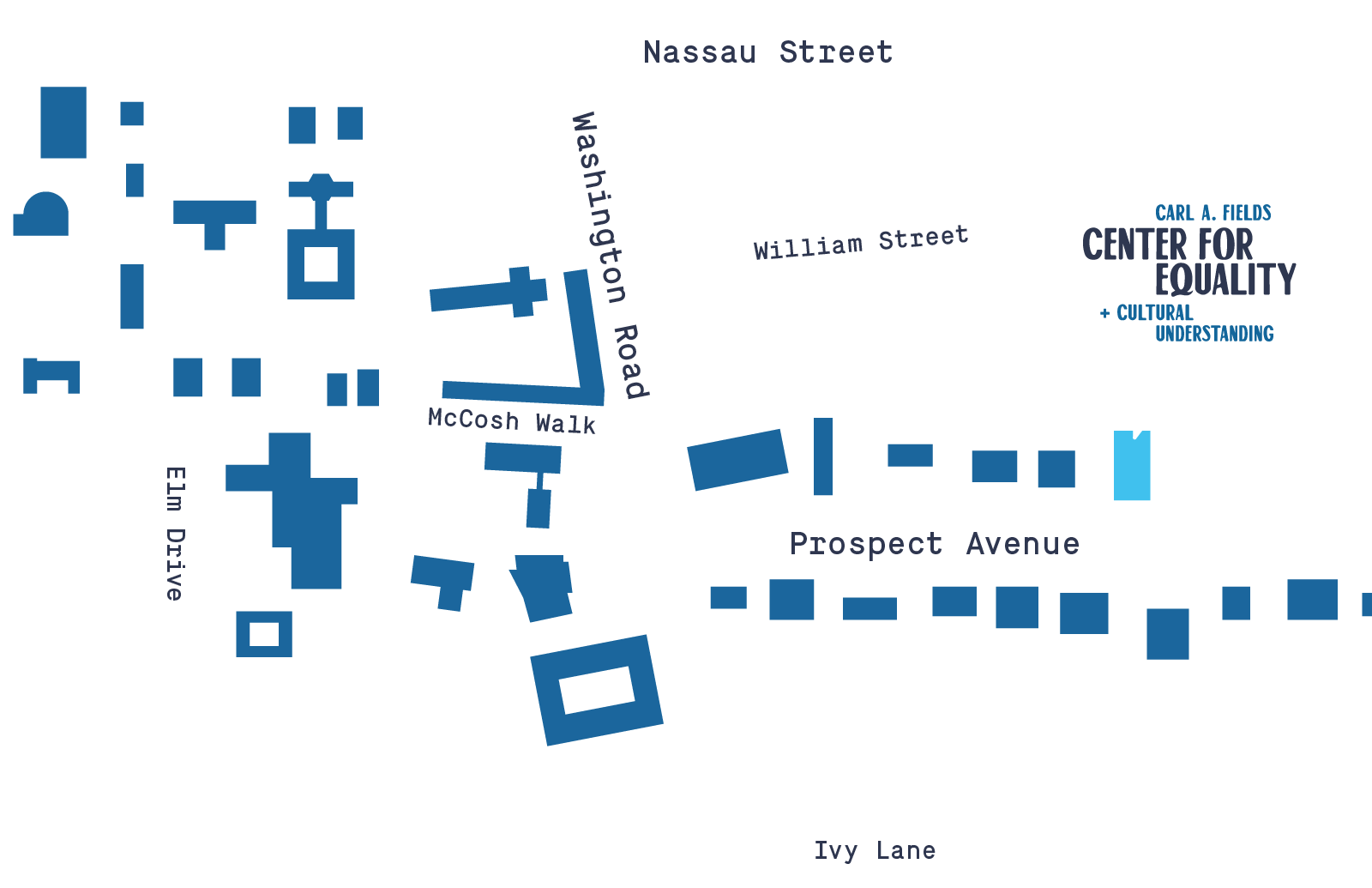 Campus map showing location of Fields Center