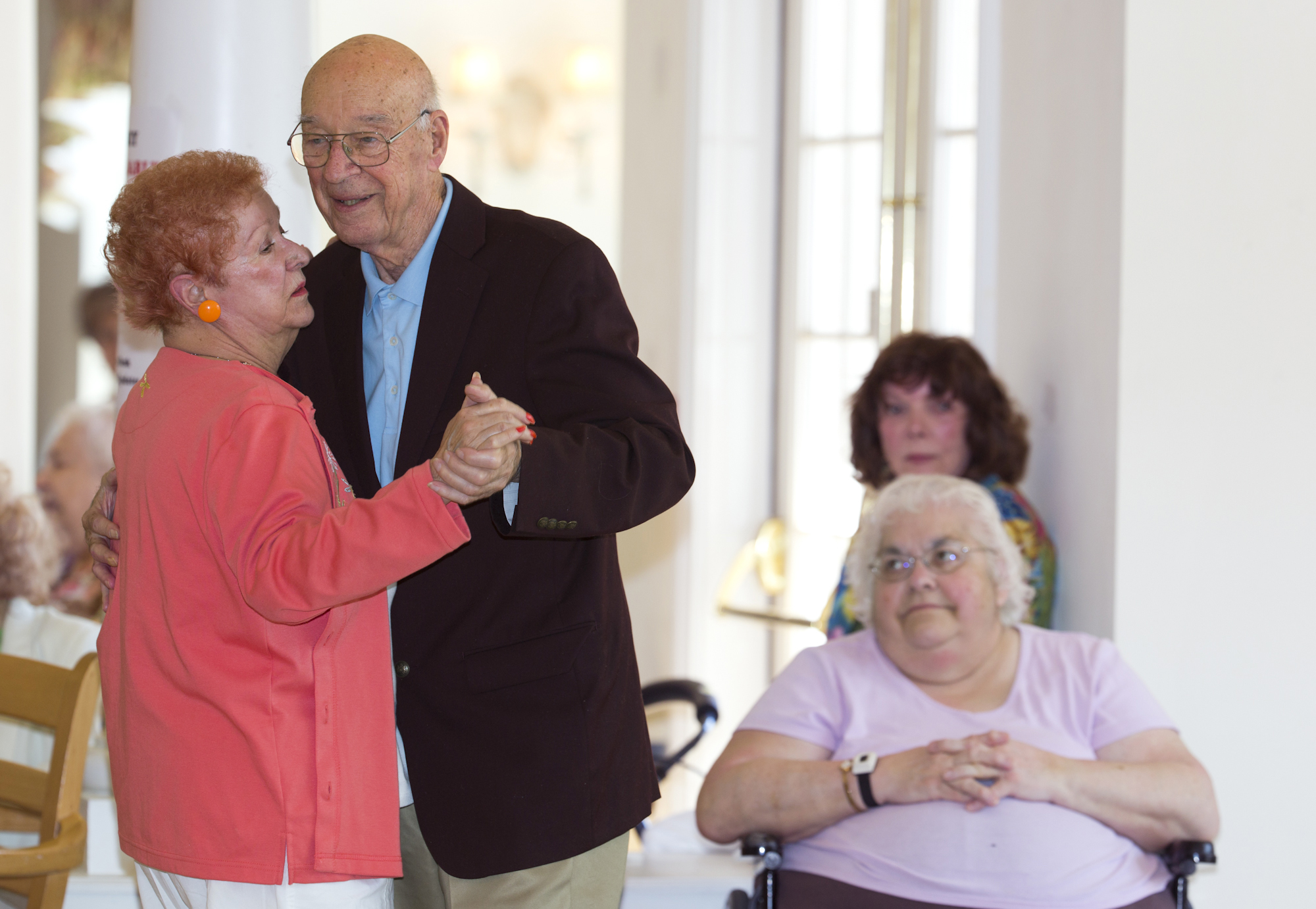 Joyce and Frank dance at Legacy Senior Living Communities, where they first met. Their love for dancing keeps them coming back to the Legacy every week for musical performances.