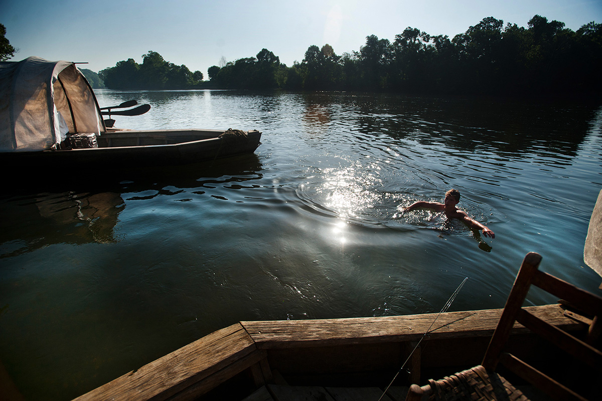 Tim Morton takes a morning swim in the James River before hopping back on the Mary Marshall en route from Howardsville, Va. to Scottsville, Va.
