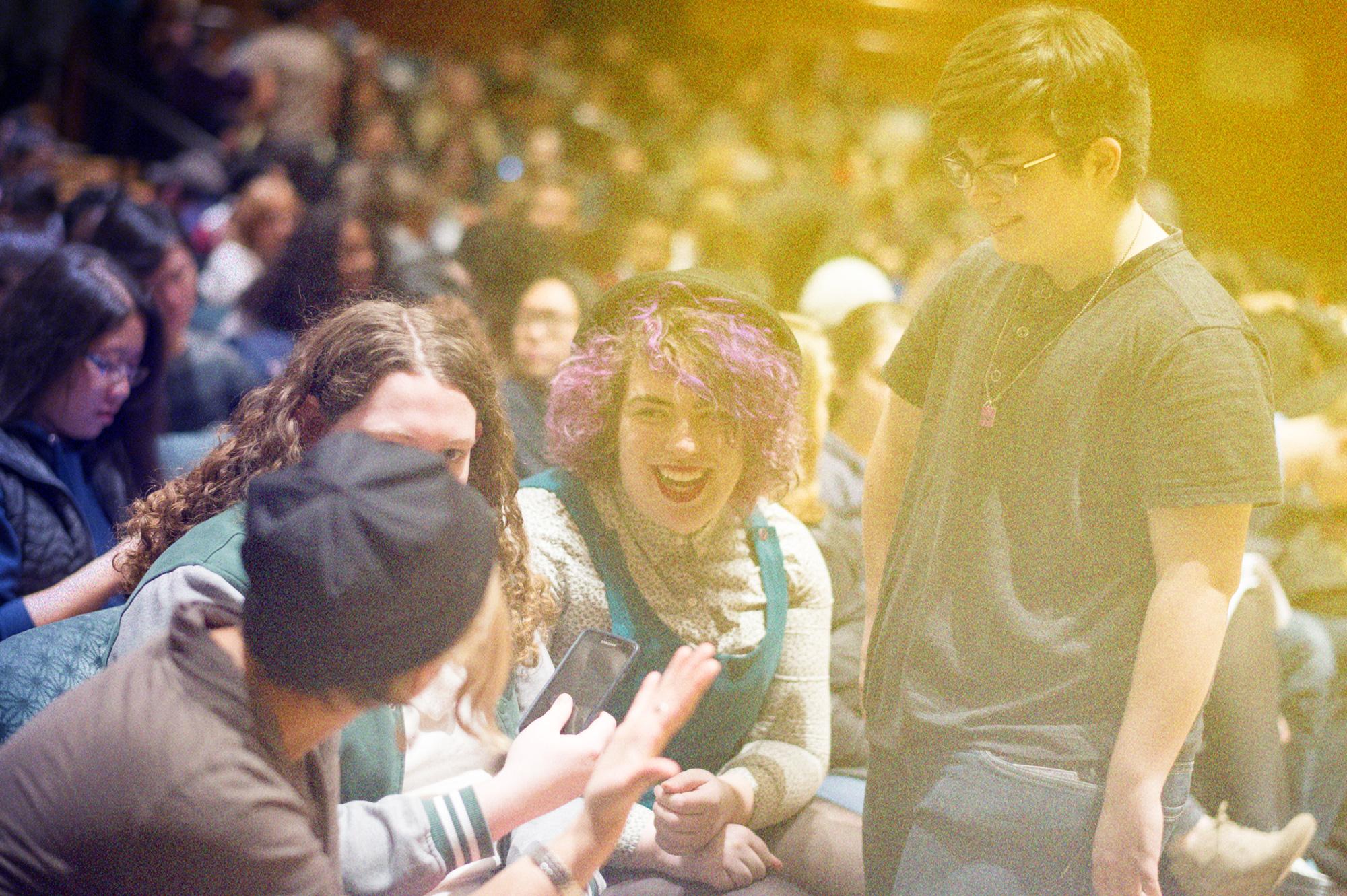 Students attending Laverne Cox lecture at Richardson Auditorium, 2016