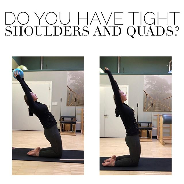 Tight shoulders and quads? This is the exercise for you! - grab a stick or a ball - kneel with hips open and core tight - move your arms up above your head keeping your ribs from flaring - lean back with shoulders and hips open but without bending your back 🔥 You should feel the stretch in your hips and shoulders! The front of your thighs and your core will also feel the burn!  If you have pain, consult with a medical professional first to determine if this is an appropriate exercise for you. This advice is not meant to replace medical advice.  #shoulderexercise #quads #hips #core #gymnastics #gymsafe #injuryprevention #gymnasticsmedicine